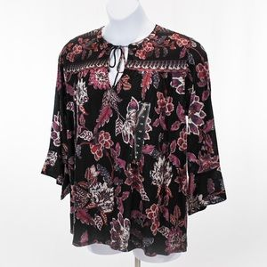 Lucky Brand 3/4 Sleeve Floral Top
